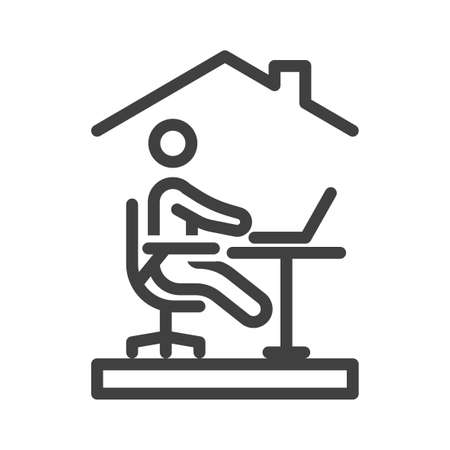 Homework icon. Simple linear image of a person sitting on a chair at a laptop. Remote work at home. Isolated vector on white background. Illusztráció