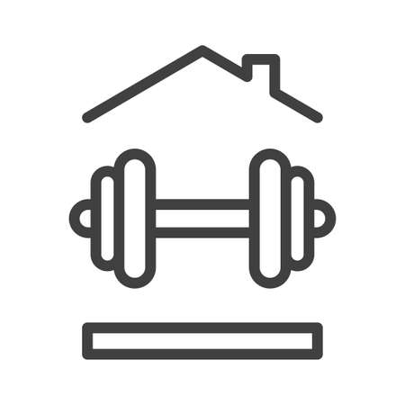 Home sports icon. A simple line drawing of a dumbbell under the roof of a house. Isolated vector on white background.