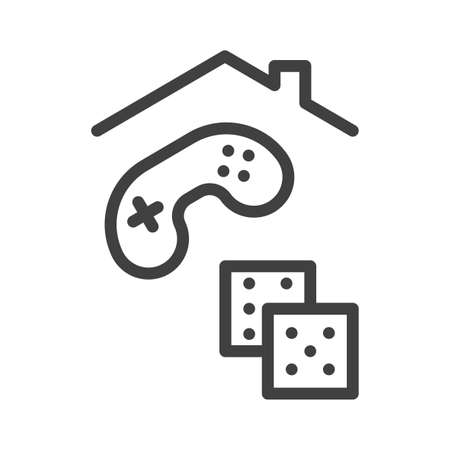 Self-isolation and quarantine game at home icon. A simple line drawing of dice and a joystick from a console under the roof of a house. Isolated vector on white background.