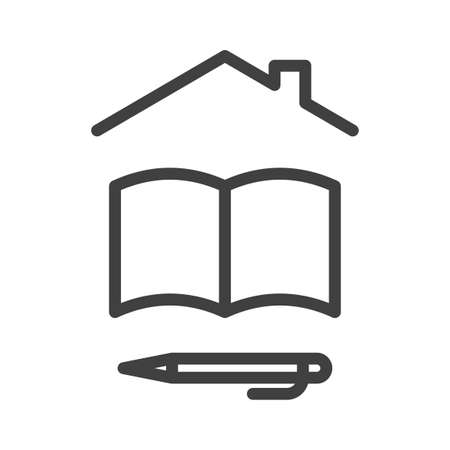 Self-isolation and quarantine home education icon. A simple linear image of a notebook or book, as well as a ballpoint pen or pencil under the roof of the house. Isolated vector on white background. Illusztráció