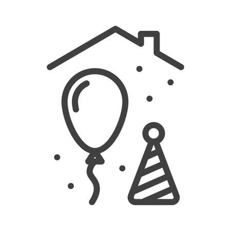Holiday home icon. A simple image of a festive atmosphere under the roof of a house. Ball and cap. Self-isolation lesson. Isolated vector on white background. Illusztráció