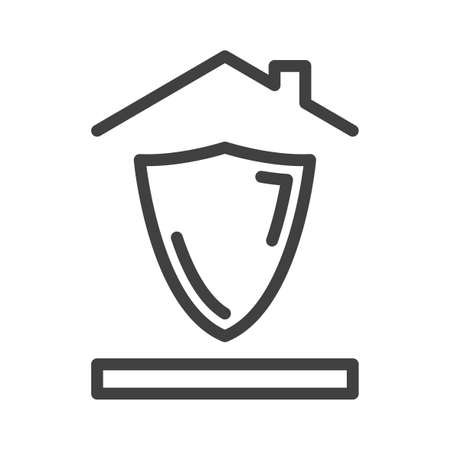 House and territory protection icon. A simple image of a shield under the roof of a house. Isolated vector on white background.