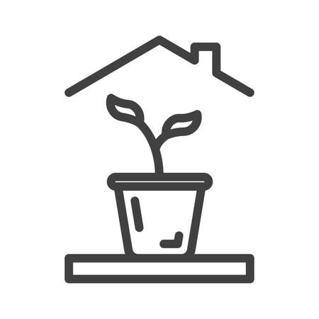 House plant icon. A simple picture of a flower in a pot under the roof of a house. Isolated vector on white background. Illusztráció