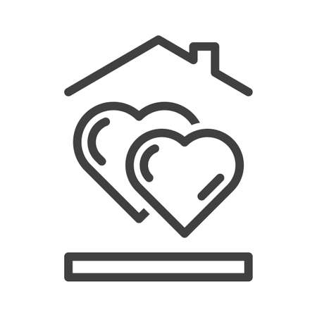 Icon of two hearts standing one after another. A simple image of hearts under the roof of a house. Isolated vector on white background. Illusztráció