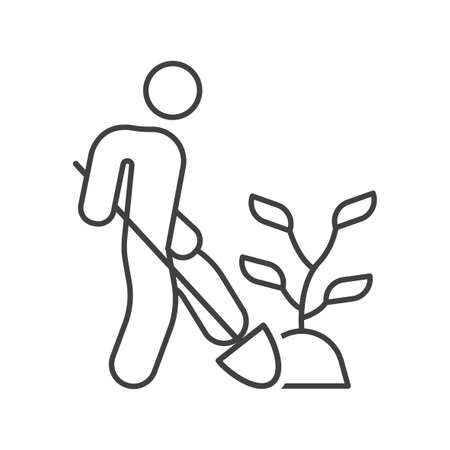 Icon of the person who transplants the plant. Simple linear image of a man with a shovel who is digging a plant. Isolated vector on white background. Illusztráció