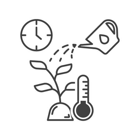 Plant care icon. Simple linear display of moisture, temperature, and plant care times. Isolated vector on white background.