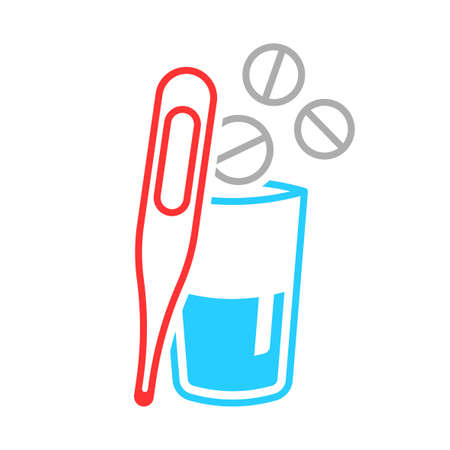 Multicolored icon of a thermometer and a glass with a medicine. Simple linear image of pills flying into a glass of water and a thermometer to measure temperature. Isolated vector on white background. Illusztráció