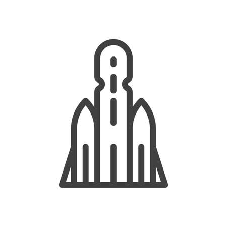 Minimalistic spaceship icon. A simple linear image of a rocket for placing equipment in near-earth orbit. Isolated vector on white background. 向量圖像