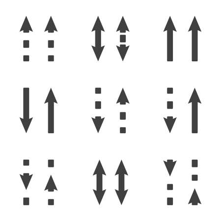 Direction arrows icons set. Straight and dashed arrows in the same and different directions. Simple linear image. Isolated vector on white background. 向量圖像
