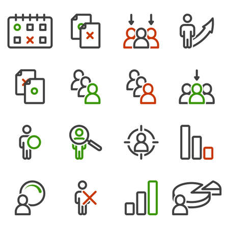 Selection icons set. Correct and incorrect choice of document, date, person, as well as recognition and definition. Isolated linear vector on a white background.