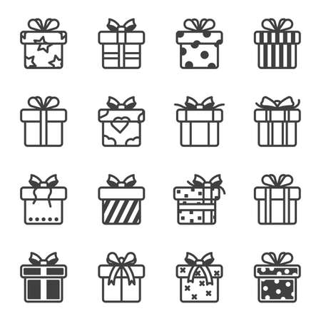 Gift boxes icons set. A simple line drawing of various options and gift wrapping styles. Various texture of the wrapper. Isolated vector on white background.