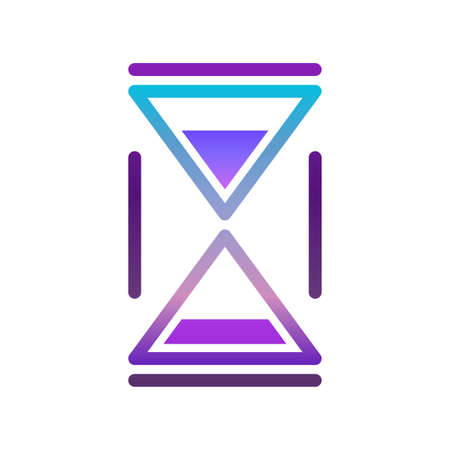 Minimalistic hourglass icon in retro wave coloring. Simple linear image, strict straight lines. Isolated vector on white background.