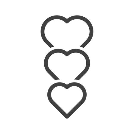 Icon of three hearts standing one after another. Simple linear image. Isolated vector on white background. 向量圖像