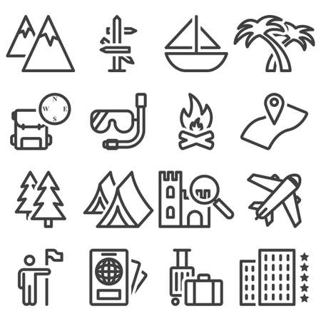 Travel icons set. Includes icons for recreation, travel, accommodation, tourist routes. 16 simple line images. Isolated vector on white background.