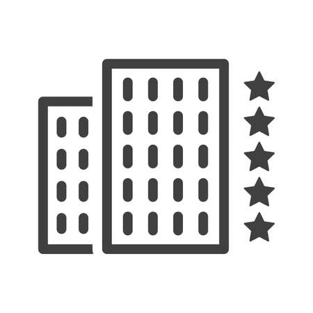 Simple linear icon of a five star hotel. An image of two buildings and five stars next to them. Isolated vector on a pure white background.