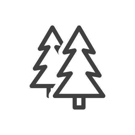 Coniferous forest icon. Image of two spruce, disposed one behind the other. A simple lazy image. Isolated vector on white background. 向量圖像