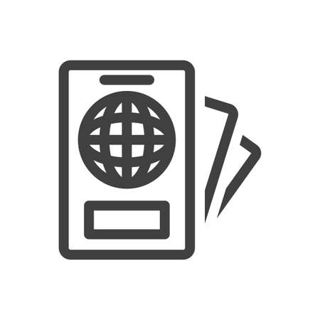 Passport and important documents icon. A simple linear image of a persons identity documents at registration. Isolated vector on white background.