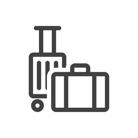 Icon suitcases for travel. Simple linear vector hand luggage. The location of the suitcase with wheels behind the carry-on suitcase. Isolated vector on white background.
