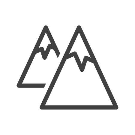 Mountains icon. A simple line drawing of two mountains with glaciers standing one behind the other. Isolated vector on white background. 向量圖像