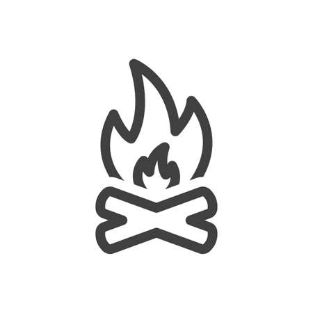Bonfire icon. A simple linear representation of crossed logs and fire above them. Isolated vector on white background.