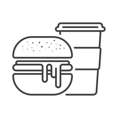 Icon burger with a mug of coffee. A simple sandwich image with potokshey filling and mug with tea or coffee drink. Isolated vector on a pure white background.
