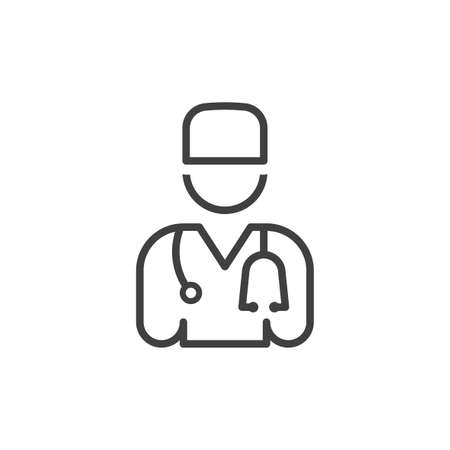 Doctor icon with phonendoscope. Simple minimalistic image for your design. Isolated linear vector on a pure white background.