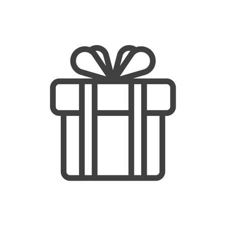 Icon of a gift box tied with a double ribbon with a bow. Simple bow. A simple image of a closed box. Clean texture. Isolated vector on a pure white background