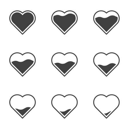 Set of 9 icons with filling hearts. A simple image of a heart gradually filling in its contents. Can be used in app loading design. Isolated vector on white background