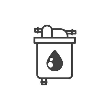 Oil filter icon. A simple line drawing of an oil purification filter. Metal case. Oil inlet and outlet on top of the filter. Isolated vector on pure white background.
