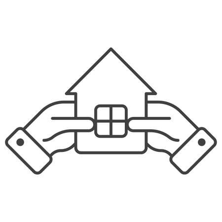 Icon of hands holding a small house. Simple linear symbol of owning, investing or protecting a home. Isolated vector on pure white background.