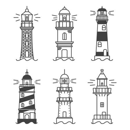 Lighthouses icons set. A simple line drawing of a coastal structure that serves as a reference point for ships. Six types of buildings. Vector. Ilustração Vetorial