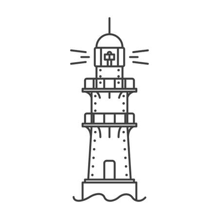 Lighthouse icon. A simple line drawing of a coastal structure that serves as a reference point for ships. The metal frame of the building. Vector.