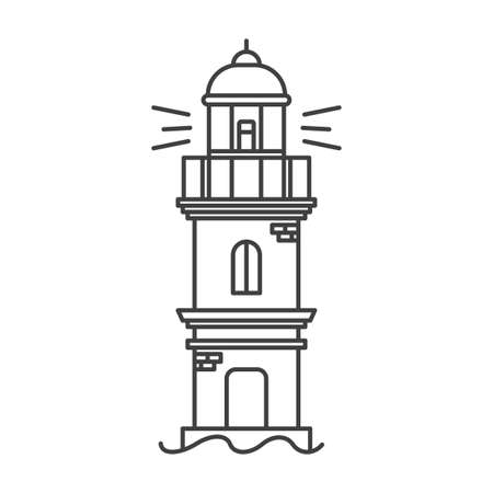 Lighthouse icon. A simple line drawing of a coastal structure that serves as a reference point for ships. A dilapidated building with exposed bricks. Vector.