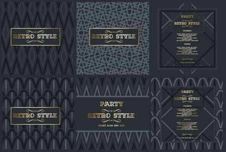 Vector frame for text Modern Art graphics for hipsters. dynamic frame stylish geometric black background with gold. element for design business cards, invitations, gift cards, flyers and brochures. Vetores