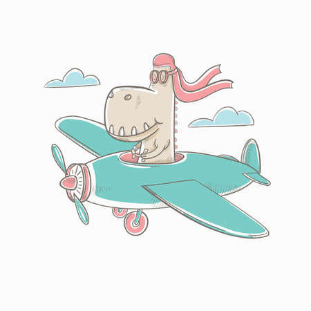 Vektor-Illustration Bunter Grafikdinosaurier fliegt in den Himmel in einem Flugzeug. Druck für Kinder-T-Shirts und handgezeichnete Karten. Vektorgrafik