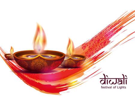 ハッピーディワリ祭の伝統的なお祝いテーマのベクトル イラスト。ディーパバリ光と火の祭り。