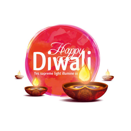dharma: Vector illustration happy diwali on white background.