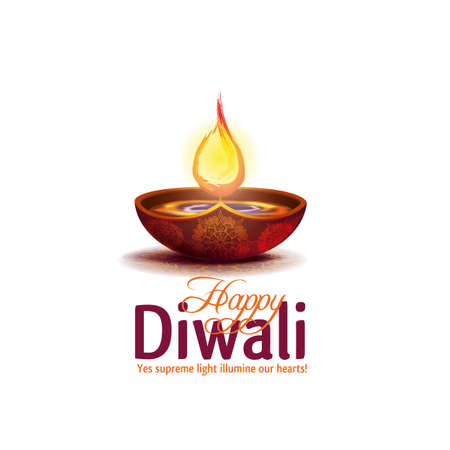 Vector illustration happy diwali on white background.