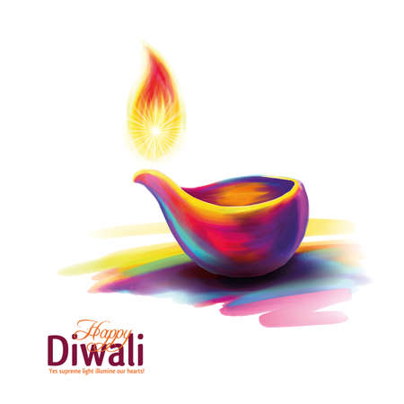 Vector illustration on the theme of the traditional celebration of happy diwali. Deepavali light and fire festival. Фото со стока - 84517642