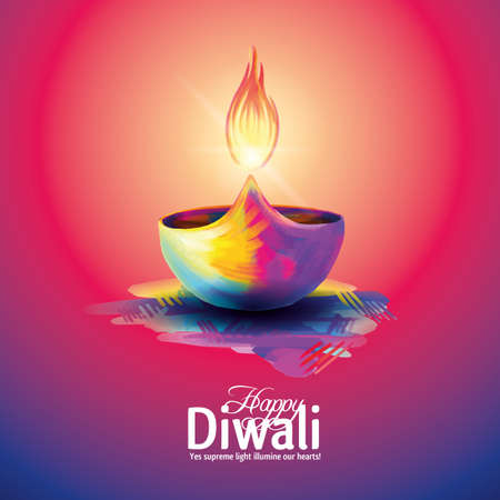 Deepavali light and fire festival. Illustration