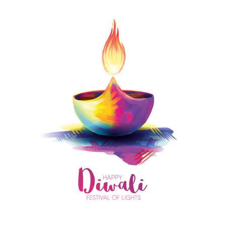 Vector illustration happy diwali on white background.