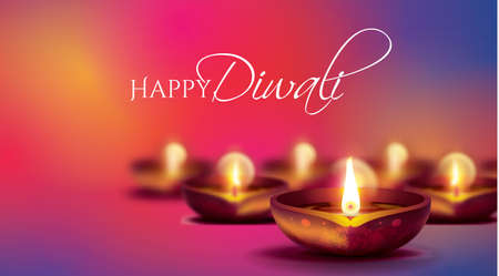 Illustration on the theme of the traditional celebration of happy Diwali. 矢量图像