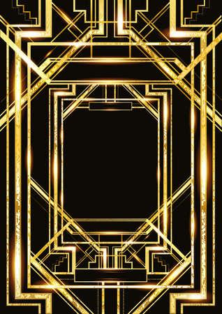 ビンテージのパーティー スタイル、アールデコの幾何学的な金パターンのレトロなパターン ベクトル