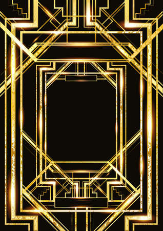 vector retro pattern for vintage party style, Art Deco geometric gold pattern 向量圖像