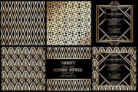 벡터 빈티지 파티 복고풍 패턴 개츠비 스타일, 아트 데코 기하학 골드 패턴