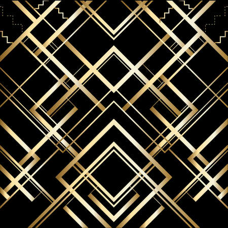 patrón retro de vector para fiesta vintage Gatsby estilo, patrón de oro geométrico Art Deco