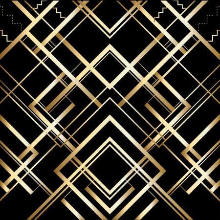 Vektor retro Muster für Vintage Party Gatsby Stil, geometrisches Muster Gold Art Deco