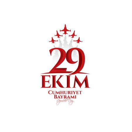 illustration vectorielle 29 ekim Cumhuriyet Bayrami kutlu olsun, fête de la République en Turquie. Traduction: 29 octobre. Fête de la République en Turquie et fête nationale en Turquie. Joyeuses fêtes. graphique pour les éléments de conception Vecteurs