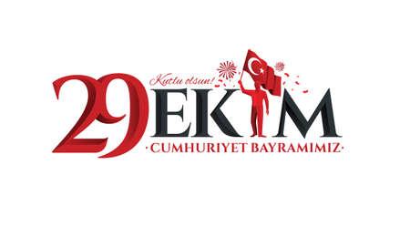 Illustration vectorielle 29 ekim Cumhuriyet Bayrami kutlu olsun, jour de la République Turquie. Traduction: 29 octobre Jour de la République La Turquie et la fête nationale en Turquie joyeuses fêtes. graphique pour les éléments de conception Banque d'images - 86213285