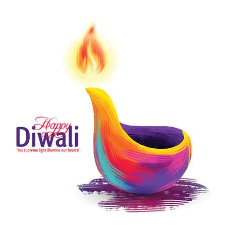 벡터 일러스트 레이 션 행복 디 왈 리의 전통적인 축하에 대 한 테마. 디파 발리 빛과 불 축제